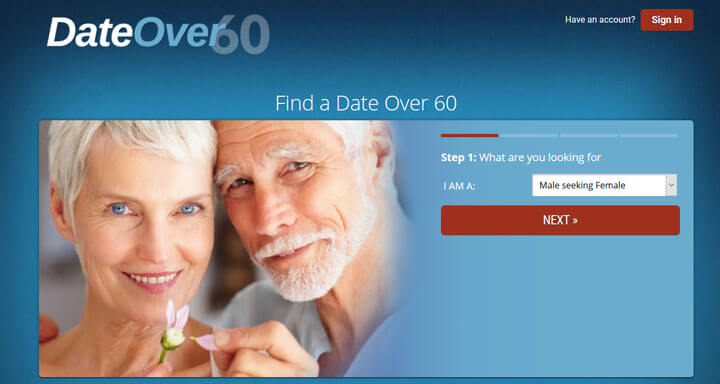 DateOver60 homepage printscreen