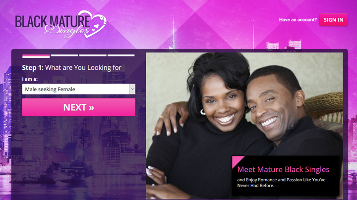 Black Mature Singles printscreen homepage