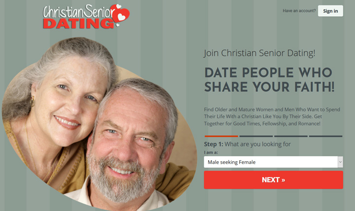 Christian Senior Dating printscreen homepage