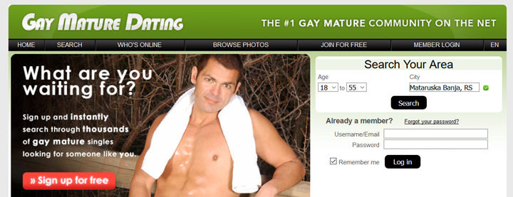 Gay Mature Dating printscreen homepage