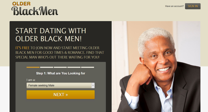 Older Black Men printscreen homepage
