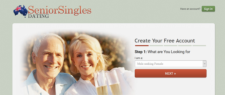 Senior Singles Dating AU printscreen homepage