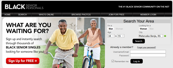 Black Senior Personals printscreen homepage
